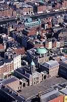 Ireland, Dublin, aerial view of the city center
