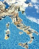 Italy landmarks, computer manipulated
