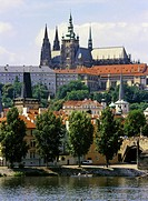 Prague Castle and Vltava River in Prague Czech Republic