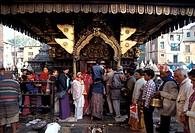 Nepal, Katmandu. Worshippers Swoyambhunath temple