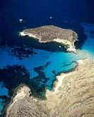 Sicily, Lampedusa. Isola dei conigli, aerial view