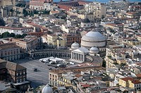 Italy, Campania, Naples Piazza del Plebiscito from the air