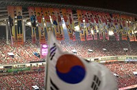 Korean soccer fans in Sangam World Cup Stadium