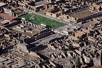 Italy, Campania, Pompei, aerial view of the roman ruins