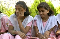 Girls in classroom of school at Ralegan Siddhi near Pune, Maharashtra, India