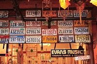 A shop selling old license number plates , Seattle , Washington , U.S.A. United States of America