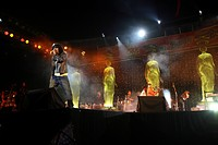 Stage show by Sonu Nigam at Dadoji Konddeo Stadium , during Thane Festival in November 2006 , Thane , Maharashtra , India NO MR
