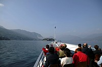 Italy, Piemonte Region, Lake Maggiore, Tourists on boat to Isola Bella, near Stresa