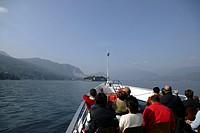 Italy, Piemonte Region, Lake Maggiore, Tourists on boat to Isola Bella, near Stresa