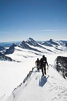 Switzerland, Canton Bern, Berner Oberland, Kleine Scheidegg, Climbers on the Monch.