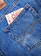 100 Chinese Yuan Note in bag of jeans