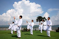 Tai Chi by the lake at the Brilliant Resort and Spa in Kunming, Yunnan Province, China