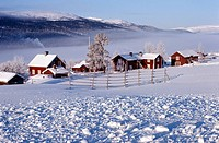 Europe, Sweden, Ostersund, Farm in winter
