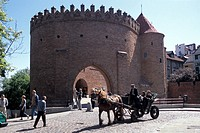 Poland, Warsaw, barbican medieval fort, horse and carriage