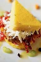 Italy, Umbria, Polenta salad with cheese and potatoes