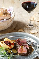 Deer with baked apple, Italy, Trentino Alto Adige