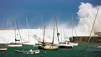 Storm at the Bay of Biscay, Port of Castro Urdiales, Cantabria, Northern Spain