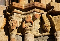 Capitals on the portal of Church of Santa Maria, Castro Urdiales, Cantabria , Northern Spain