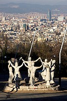 Monument to the 'sardana' (typical circle dance) and view of the city from the top of the mountain of Montjuic, Barcelona, Catalonia, Spain