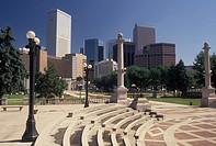 skyline, Denver, CO, Colorado, Skyline of downtown Denver from Civic Center Park.