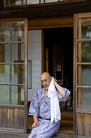 Senior man wearing yukata