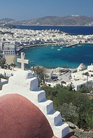 Mykonos, Greek Islands, Cyclades, Greece, Europe, Scenic view of Mykonos Harbor on the Aegean Sea.