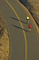 Bicycle riders on country road , Northern California, USA