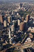USA, Massachusetts, Boston, downtown Boston, aerial view Custom House, Faneuil Hall, view to west and BackBay