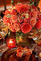 Table set adorned with flowers