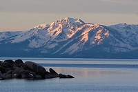 Lake Tahoe and Mt. Tallac at dawn from the east shore