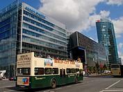 Germany, Berlin. Potsdamer street, Sony Center turistic bus