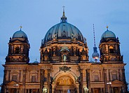 Berlin, Germany. Detail of Berliner Dom cathedral at night