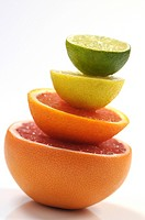 Stack of grapefruit, orange, lemon and lime slices