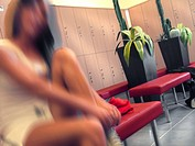 Woman at gym in changing room