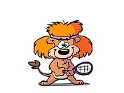 Lion holding tennis racket