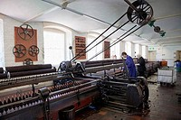 Workers working in a textile factory, New Lanark, Lanark, Scotland