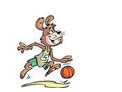 Rabbit playing basketball