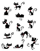 Collection of black cat silhouettes