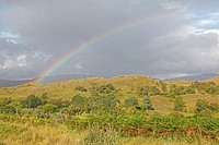 Rainbow on scottish landscape.