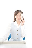 Young woman wearing headset