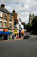 Buildings along a street, High Street, Beckenham, London Borough Of Bromley, London, England