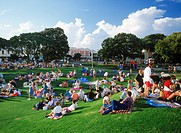 People having picnics during outdoor concerts at Ponsonby in Auckland suburb