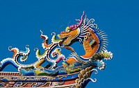 Roof Detail of the Baoan Taoist temple Taipei Taiwan