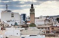 Tunisia, Cap Bon, Nabeul, mosque minaret