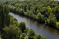 Creuse River viewed from the top of the Viaduct, Le Blanc, Indre department, province of Berry, region of Centre, France, Europe