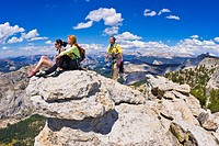 Climbers on the summit of Tenaya Peak, Tuolumne Meadows area, Yosemite National Park, California