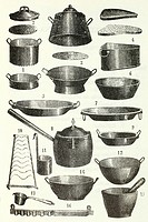 A set of iron kitchen equipment Antique illustration 1892
