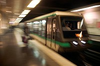 France, Paris, subway train in motion