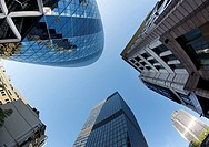 England, London, The City of London. 30 St Mary Axe also known as the Gherkin and the Swiss Re Building and surrounding buildings in the financial dis...