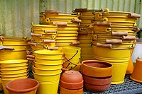 Buckets and pots in a garden center Cambrils, Tarragona, Catalonia, Spain